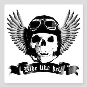 "Biker Skull A sw Square Car Magnet 3"" x 3"""