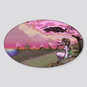 Anime Catgirl Art Inspirational Gif Sticker (Oval)