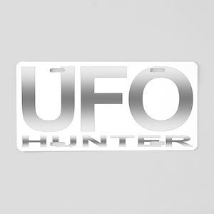 ufo hunter silver Aluminum License Plate
