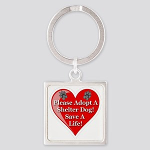 adopt_a_shelter_dog_white_transpar Square Keychain
