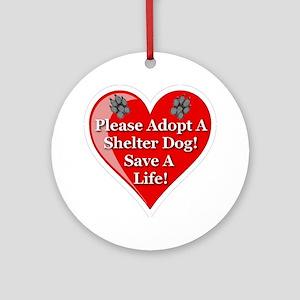adopt_a_shelter_dog_white_transpare Round Ornament
