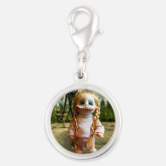Creepy doll at Fair Silver Round Charm