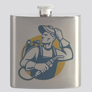 Welder Fabricator Welding Retro Style Flask