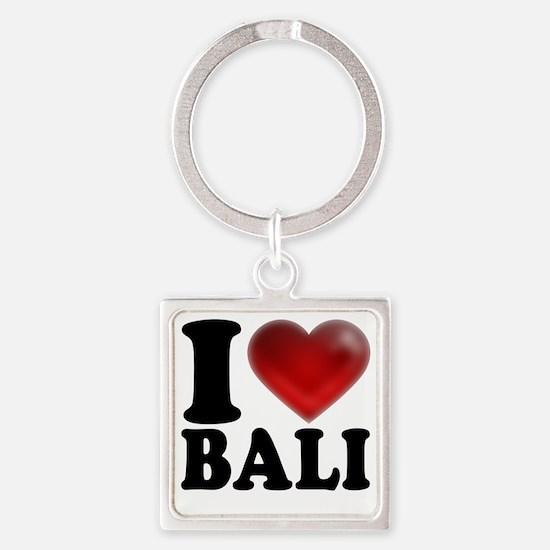 I Heart Bali Light Square Keychain
