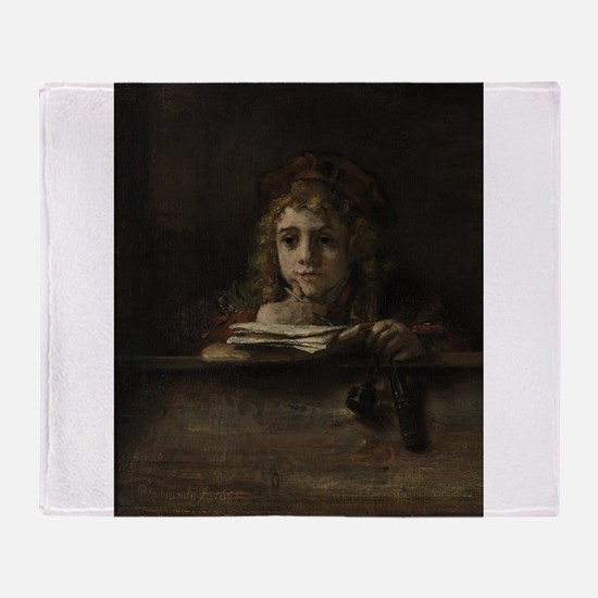 Titus at his desk - Rembrandt - c1655 Throw Blanke