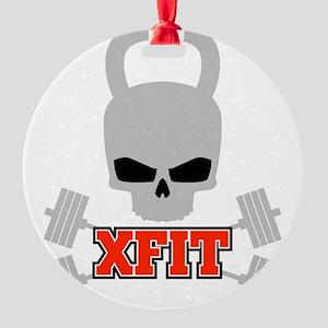 crossfit cross fit skull kettlebell dark Round Orn