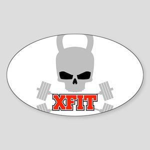crossfit cross fit skull kettlebell dark Sticker