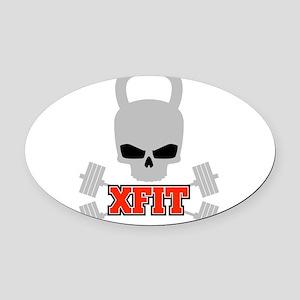 crossfit cross fit skull kettlebell dark Oval Car