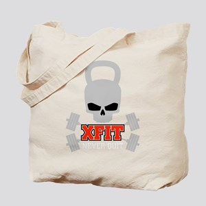 crossfit cross fit skull kettlebell dark Tote Bag
