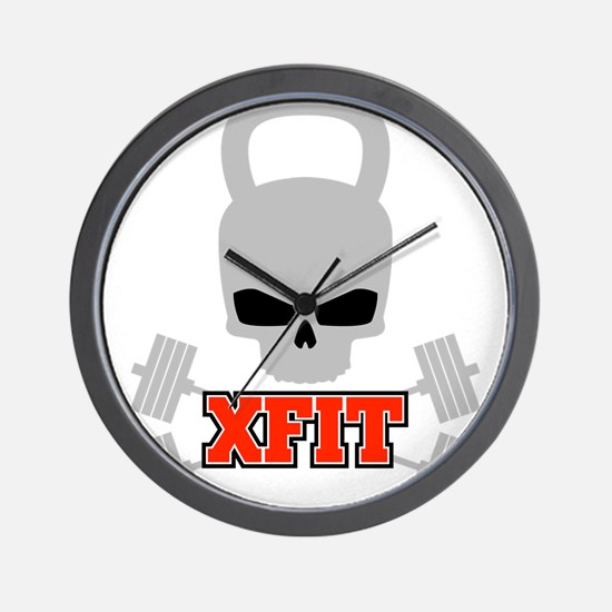 crossfit cross fit skull kettlebell dark Wall Cloc