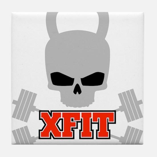crossfit cross fit skull kettlebell dark Tile Coas