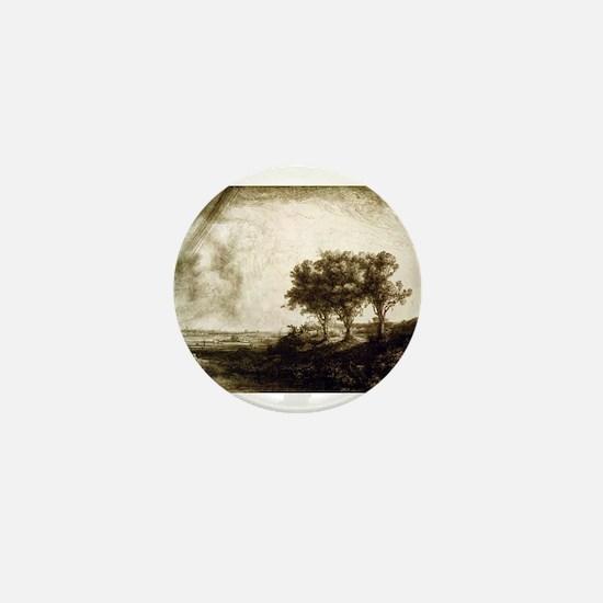 The three trees - Rembrandt - 1643 Mini Button
