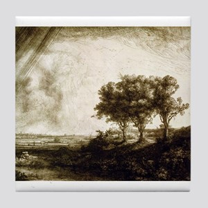 The three trees - Rembrandt - 1643 Tile Coaster