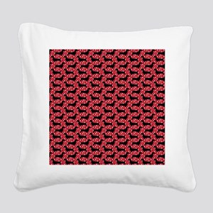 Red Polka Doxies Square Canvas Pillow