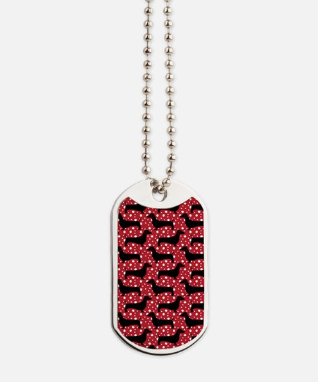 Red Polka Doxies Dog Tags