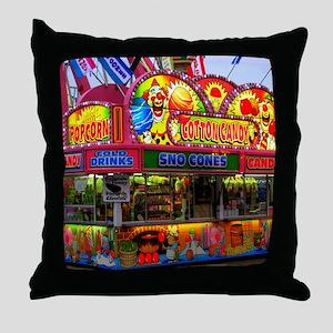 clown cotton candy Throw Pillow