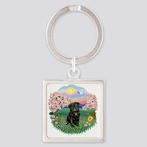 Blossoms- Black Pug 13 Square Keychain
