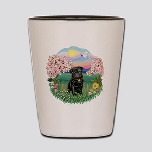 Blossoms- Black Pug 13 Shot Glass