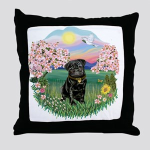 Blossoms- Black Pug 13 Throw Pillow