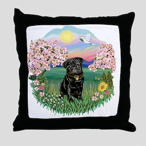Blossoms- Black Pug 13 Throw Pillow