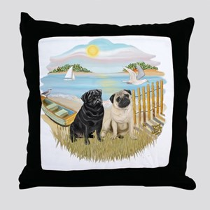 Row Boat-TwoPugs (F+B) Throw Pillow