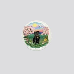 Blossoms- Black Pug 13 Mini Button