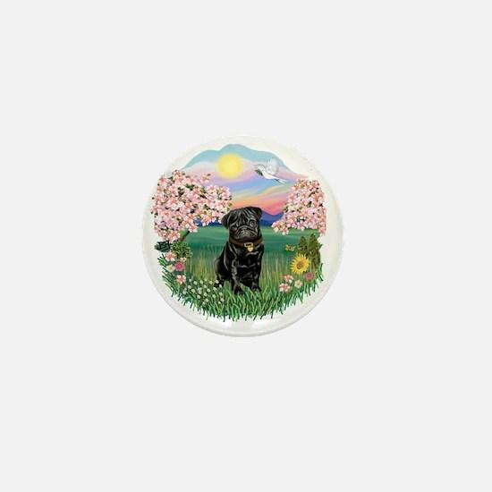 Blossoms- Black Pug 13 Mini Button
