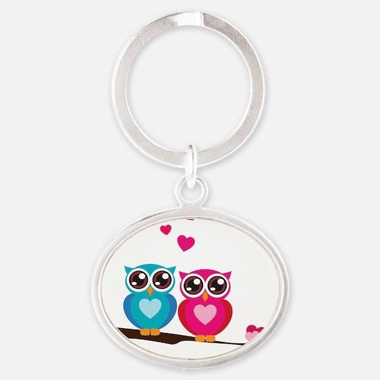 owl14 Oval Keychain