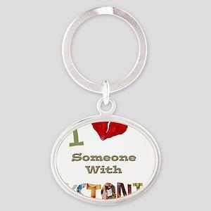 I Love Large Image Oval Keychain