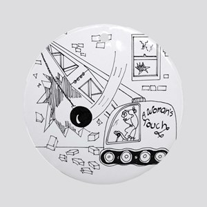6401_demolition_cartoon_JA Round Ornament