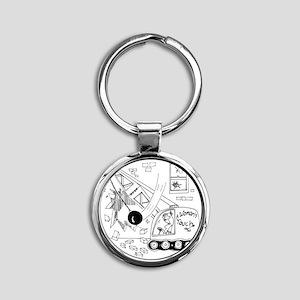 6401_demolition_cartoon_JA Round Keychain