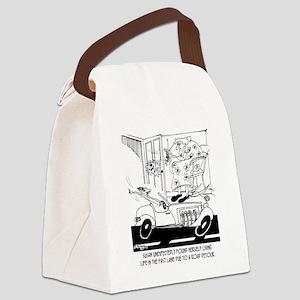 6407_driving_cartoon Canvas Lunch Bag
