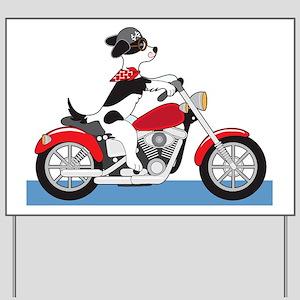 Dog Motorcycle Yard Sign