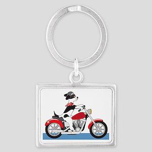 Dog Motorcycle Landscape Keychain