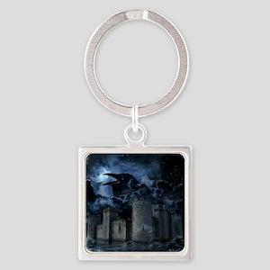 Raven Castle Square Keychain