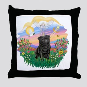 Guardian - Black Pug 17-nc Throw Pillow