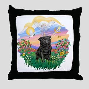 Guardian - Black Pug 17-nc Throw Pillow
