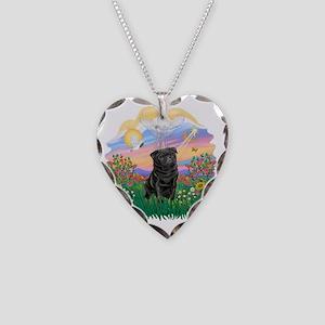 Guardian - Black Pug 17-nc Necklace Heart Charm