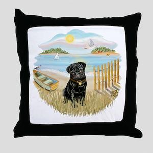 Rowboat - Black Pug 13bc Throw Pillow