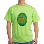 Krishna Playing Flute - Green T-Shirt