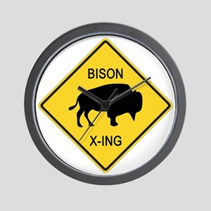 crossing-sign-bison Wall Clock