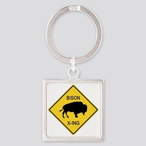 crossing-sign-bison Square Keychain