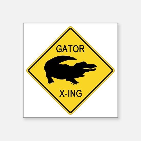 "crossing-sign-alligator Square Sticker 3"" x 3"""
