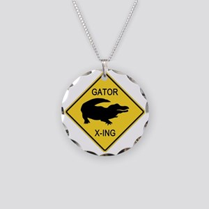 crossing-sign-alligator Necklace Circle Charm
