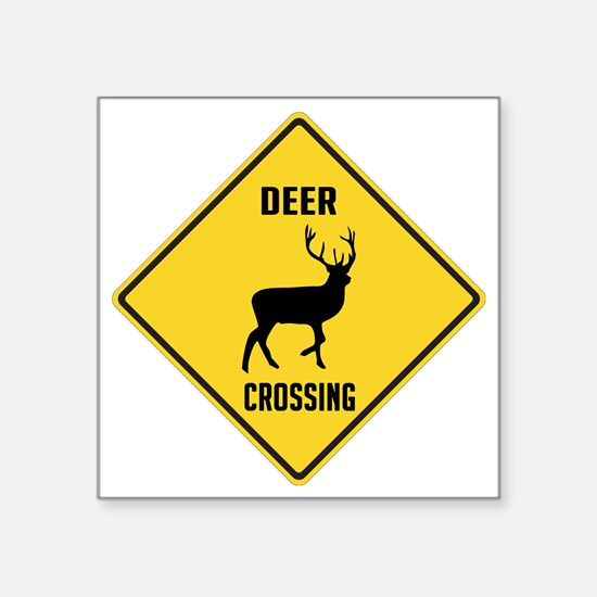 """crossing-sign-deer Square Sticker 3"""" x 3"""""""
