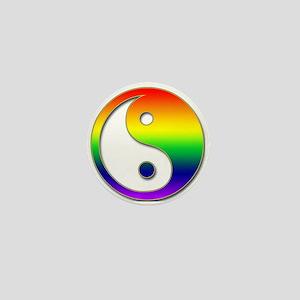 Rainbow Yin Yang Mini Button