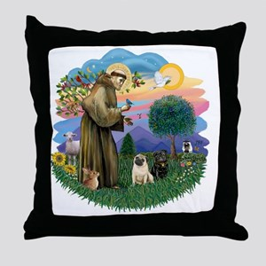 StFrabcus2-TwoPugs-fawn-blk Throw Pillow