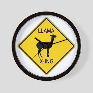 crossing-sign-llama Wall Clock
