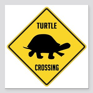 """crossing-sign-turtle Square Car Magnet 3"""" x 3"""""""