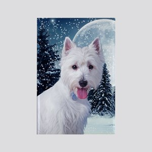 WestieWinterCard Rectangle Magnet